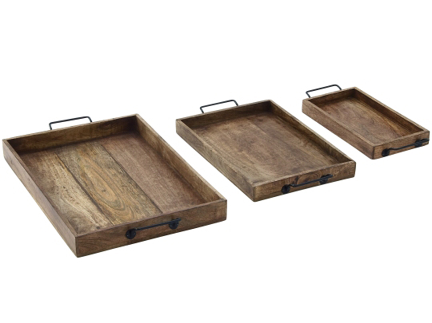"Set of 3 Wood and Metal Tray 17/20/24""L"