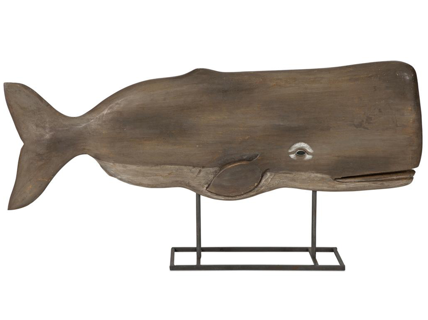 "Carved Wood Whale Statue on Stand 30""W x 15""H"