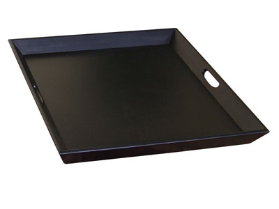 Oversized Black Wood Ottoman Tray 28X28""