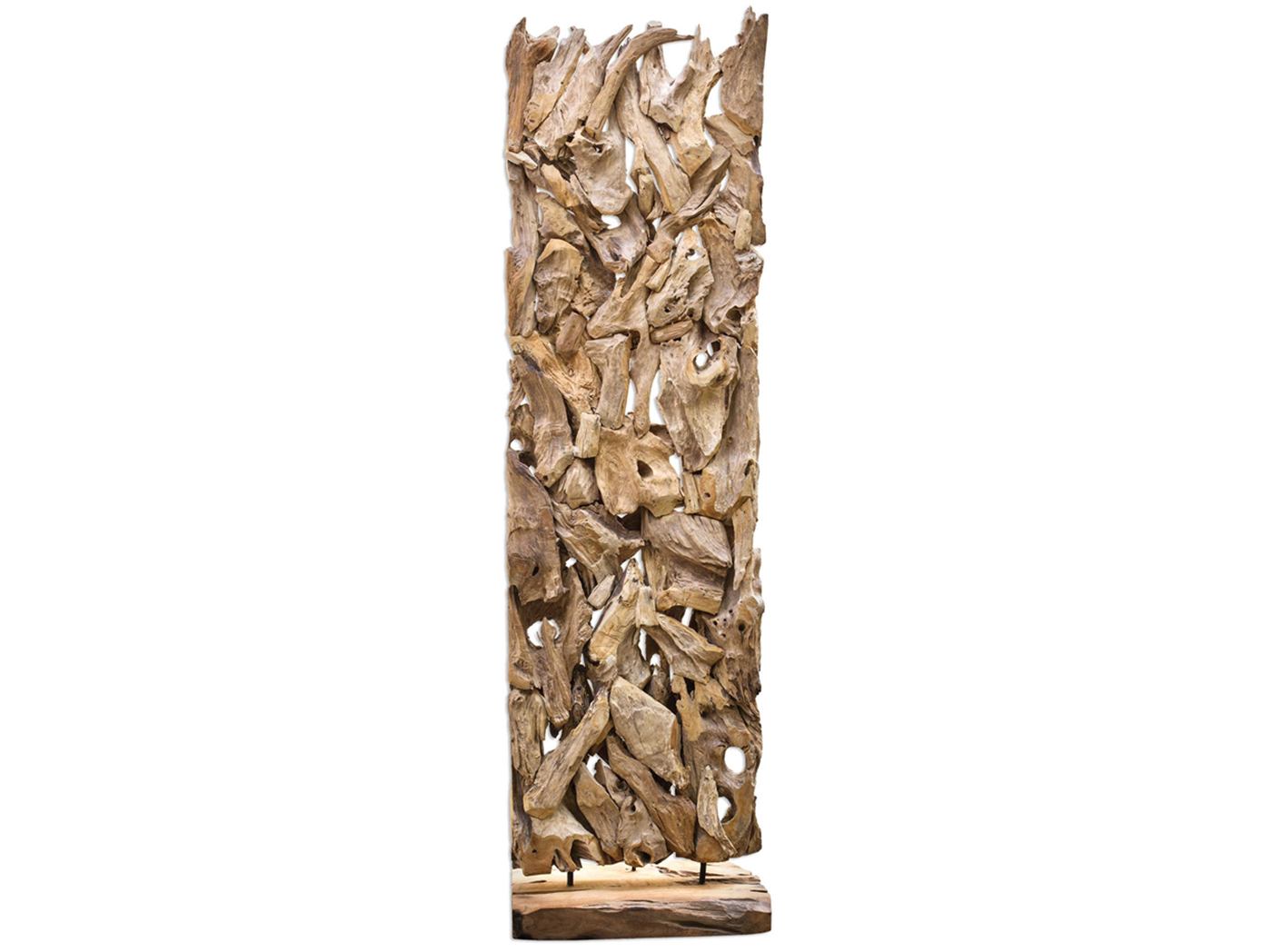 "Teak Wood Floor Sculpture 25""W x 84""H"