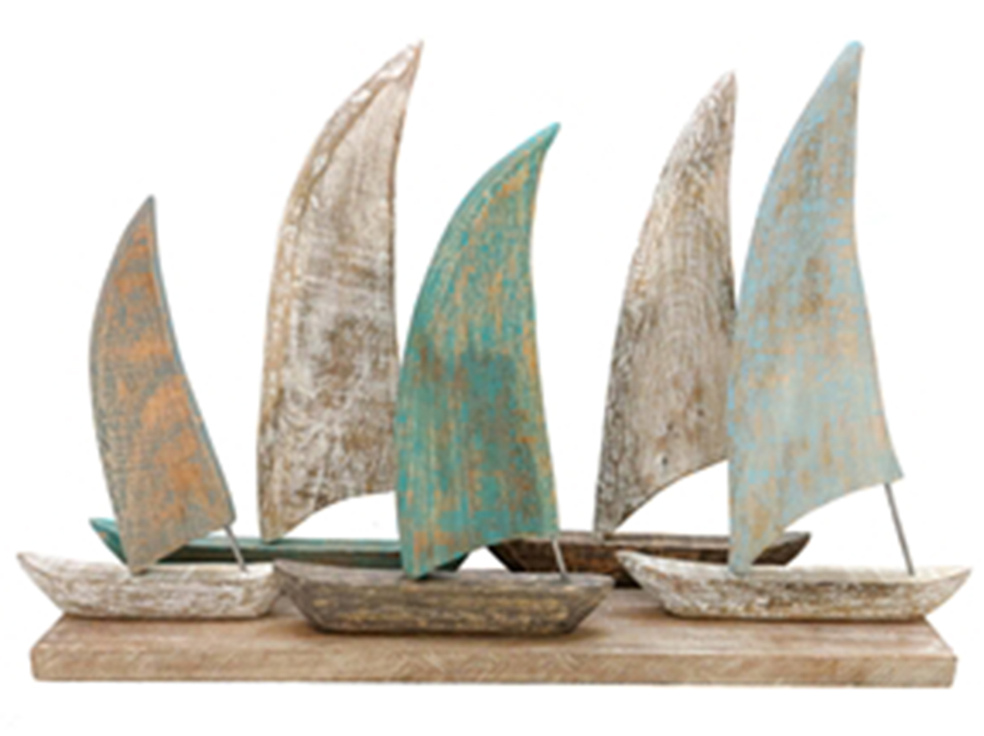 "Mango Wood Cream, Blue, and Brown Sailboats 28""W x 18""H"