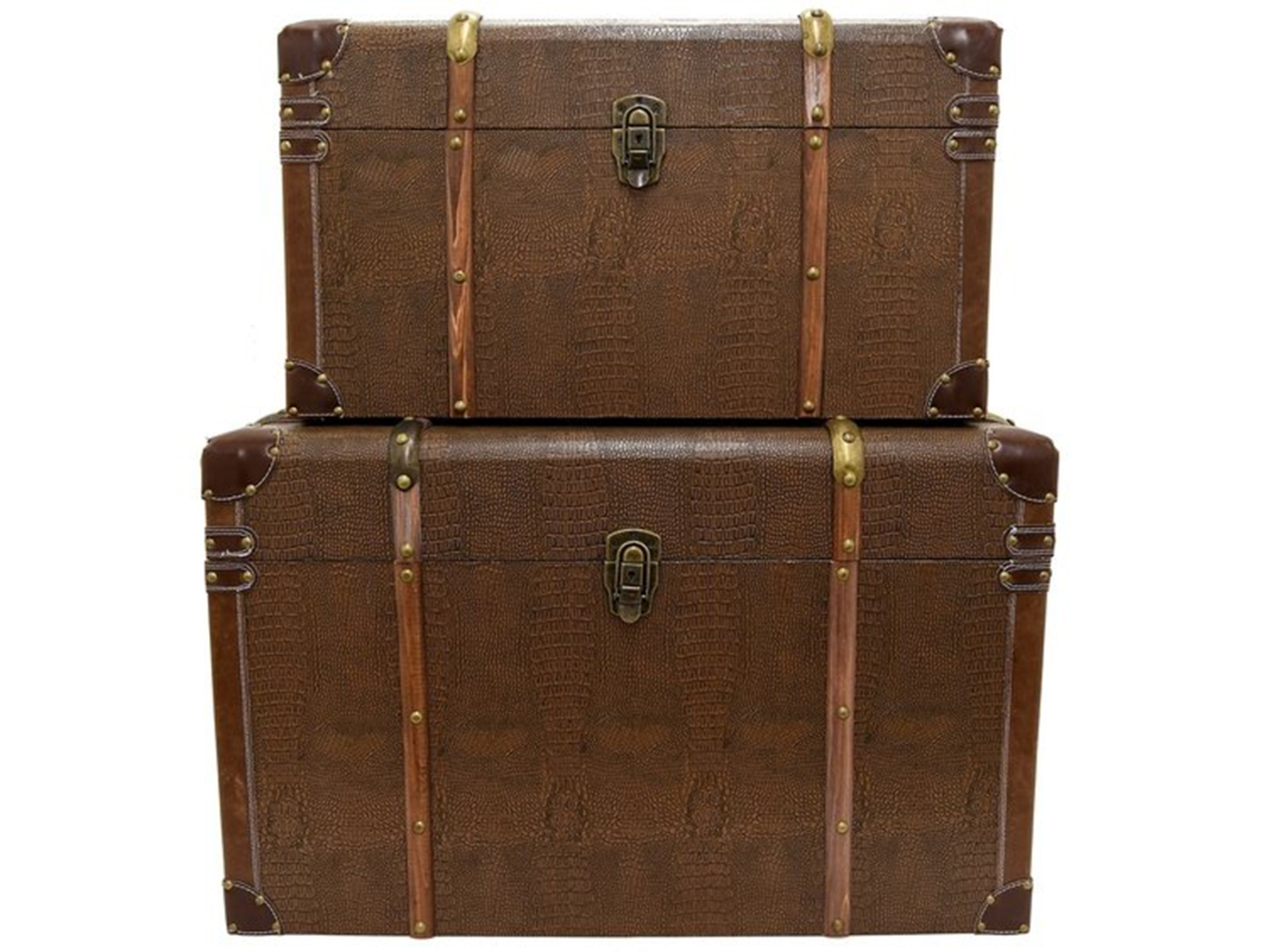 "Set of 2 Wood Trunks 28""W x 17""H"