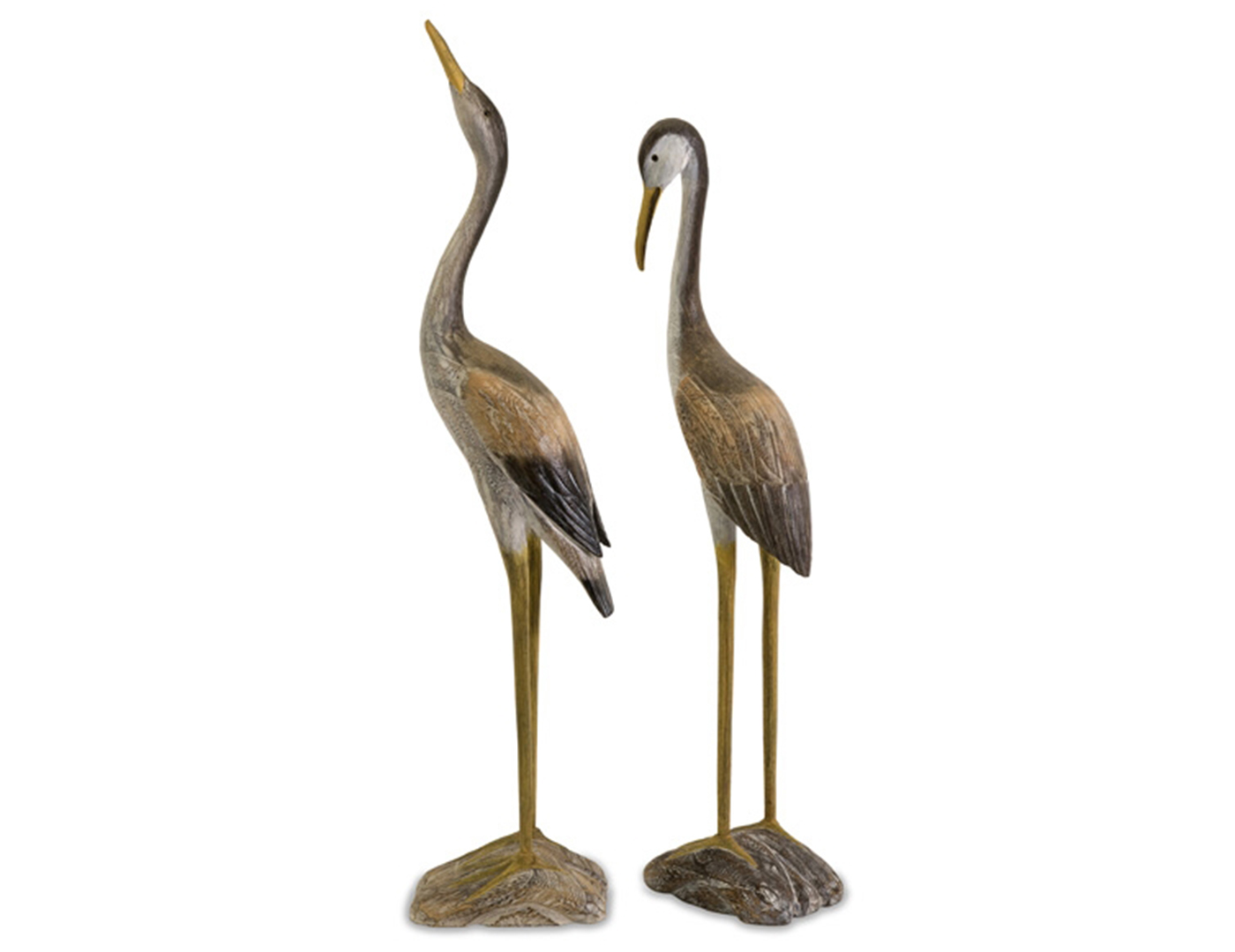 "Set of 2 Wood Cranes 28/31.5""H"