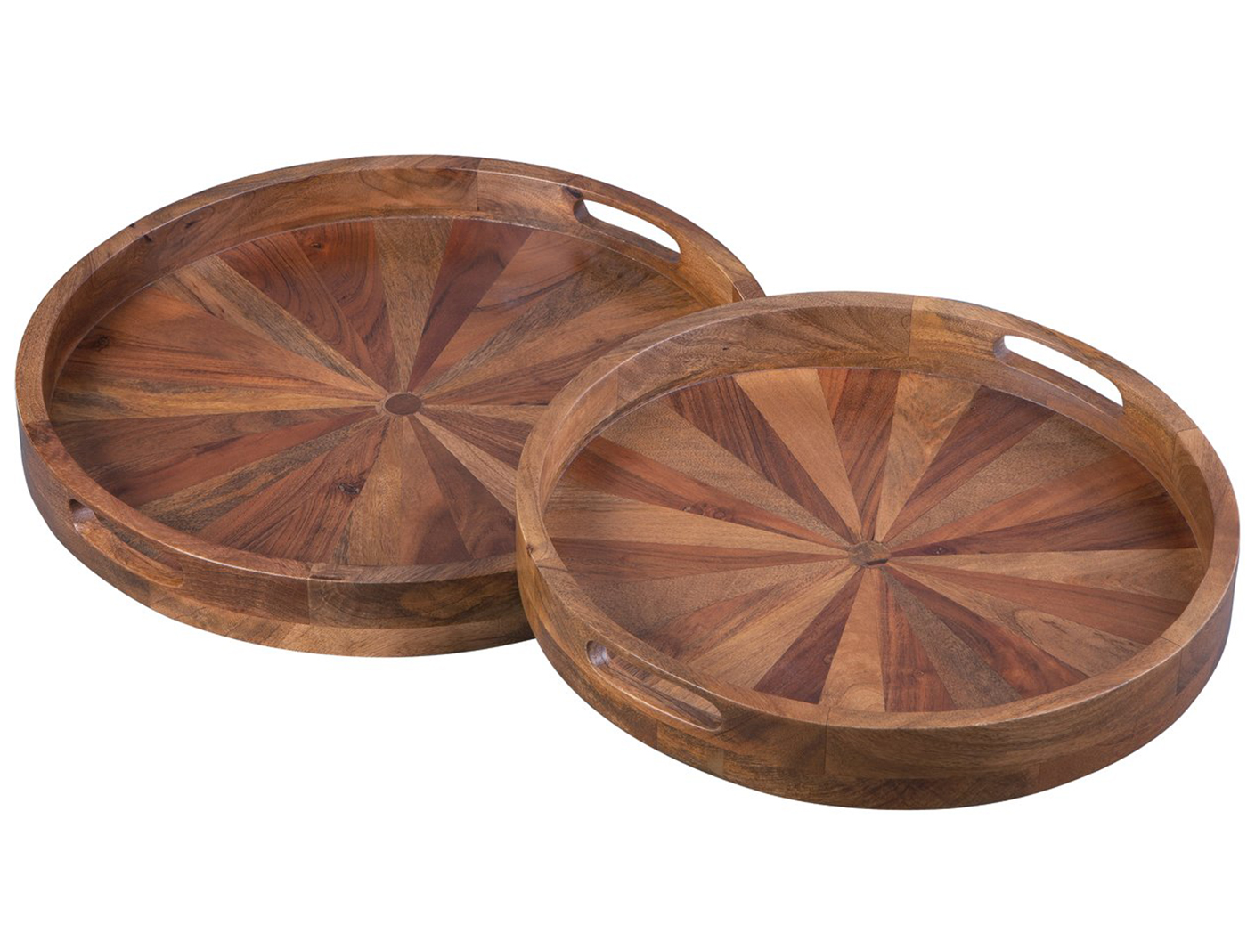 "Set of 2 Natural Finish Wood Round Ottoman Trays 20""-22""Dia."