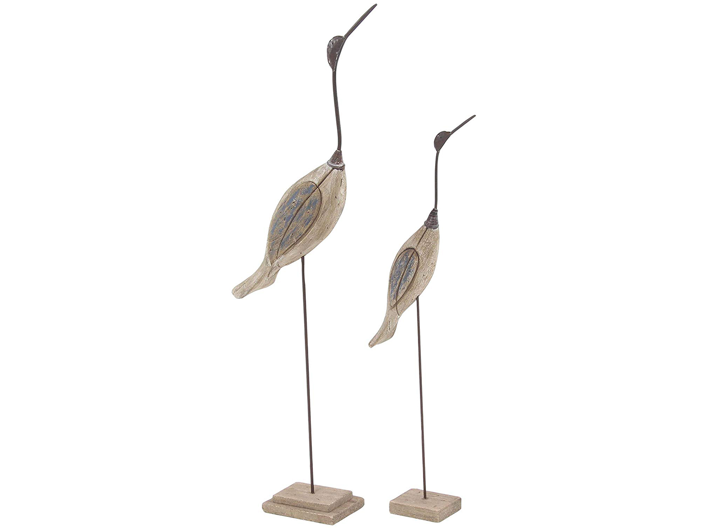"Set of 2 Natural and Blue Wood Birds 28""/35""H"