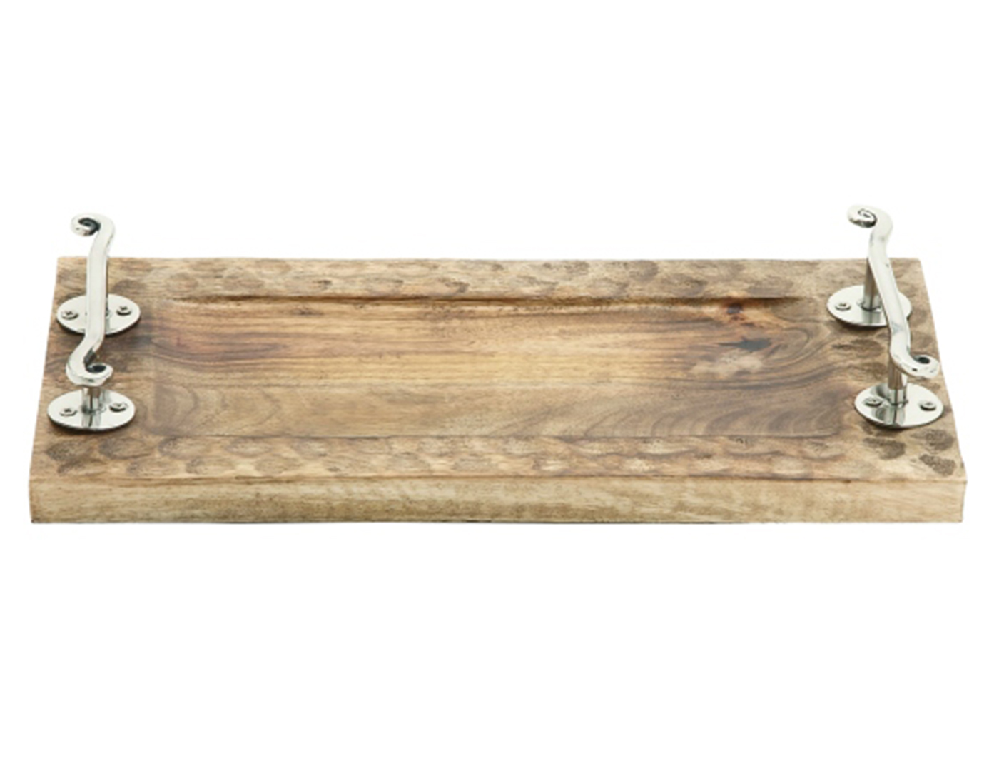 Distressed Wood and Aluminum Table Tray