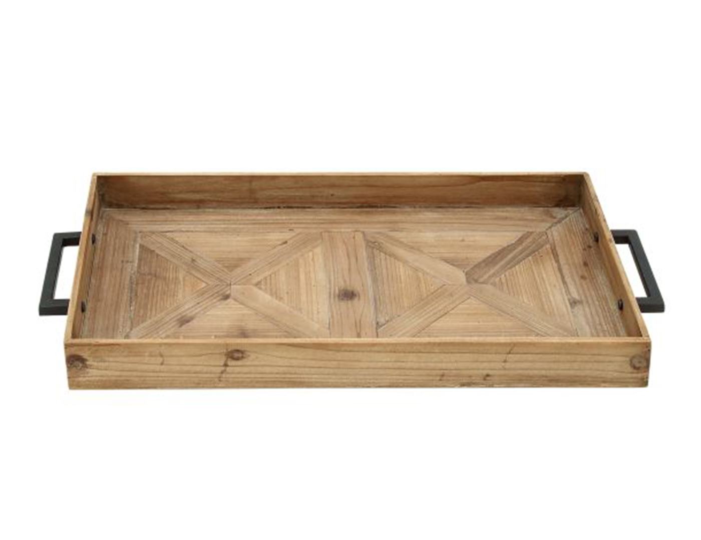 Wood and Metal Barn Door Table Tray 32""