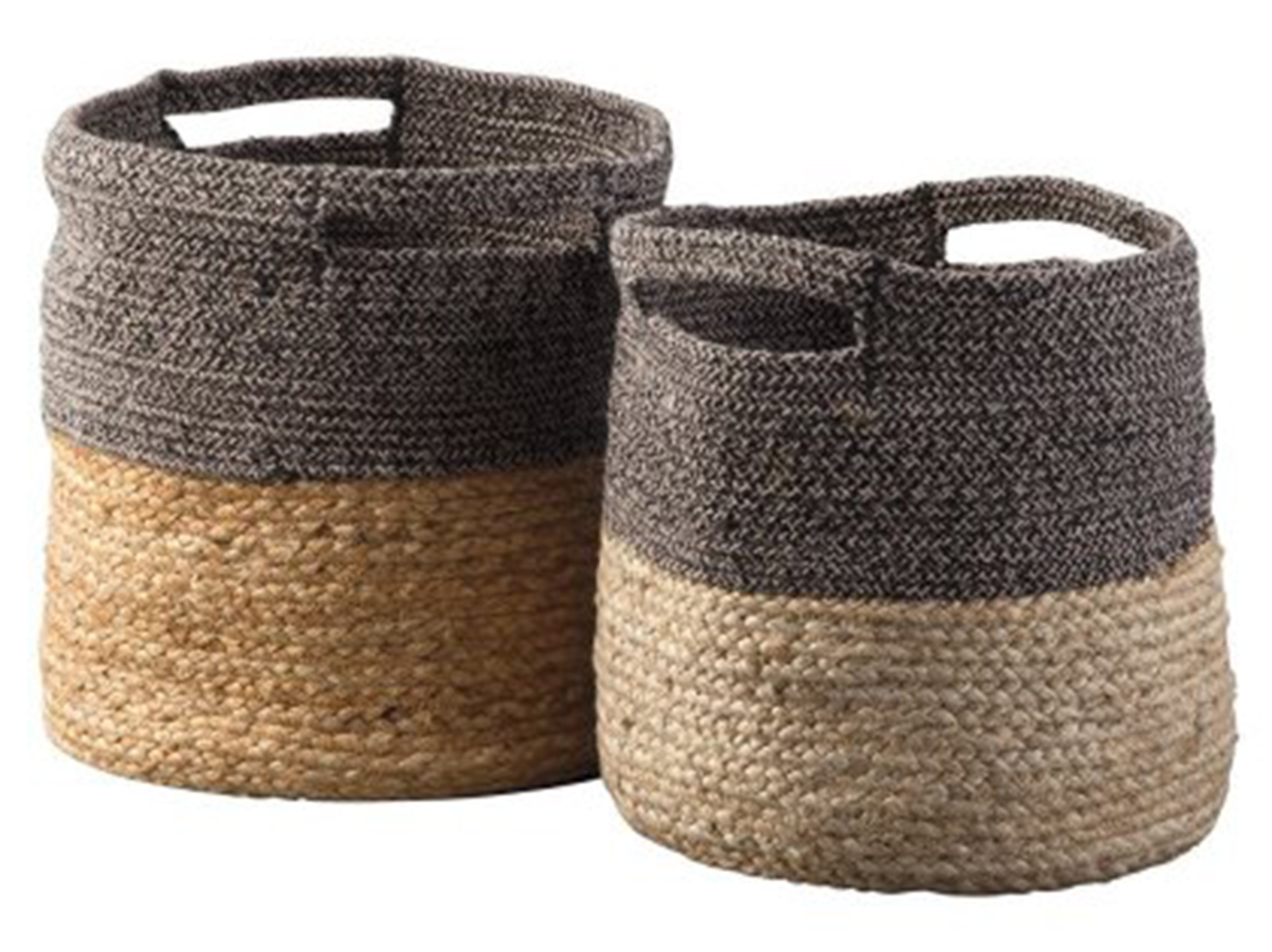 "Set of 2 Natural & Black Baskets 11-13""W x 12-13""H"