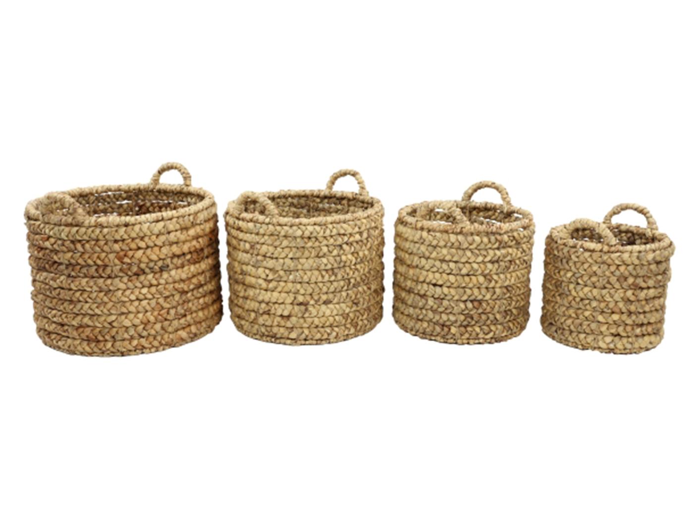 Set Of 4 Water Hyacinth Baskets 11 Quot 13 Quot 15 Quot 17 Quot W Steinhafels