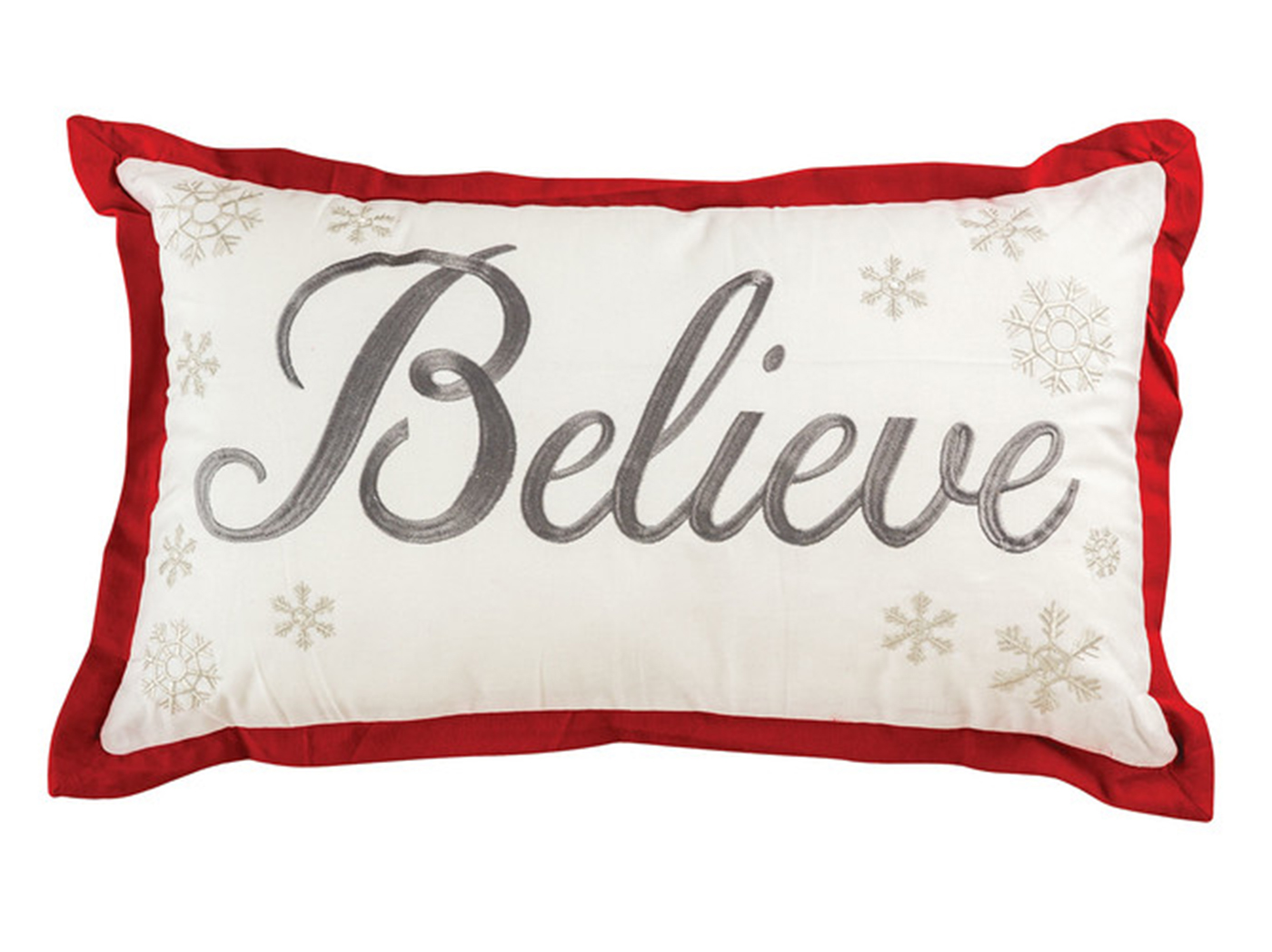"Red, Black, and White Believe Down Pillow 26""W x 16""H"