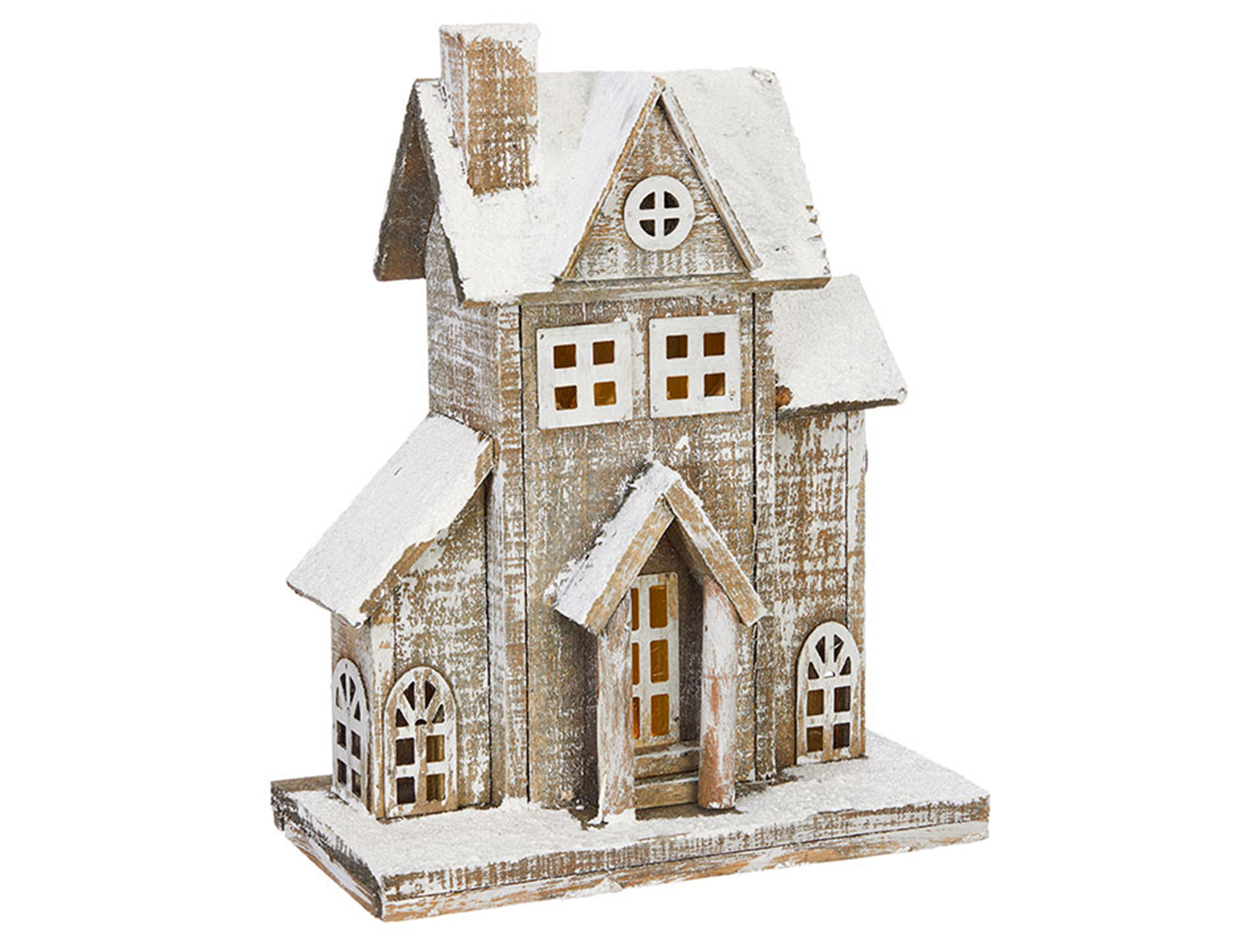 "Short Lighted Wood Snowy House 10""W x 13""H"