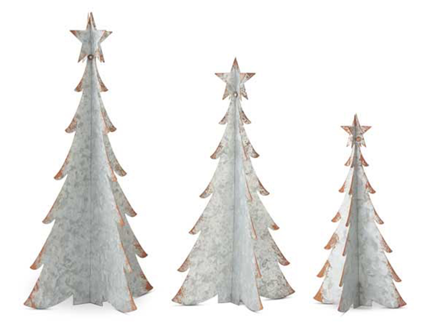 "Set of 3 Galvanized Metal Christmas Tree up to 14""W x 26""H"