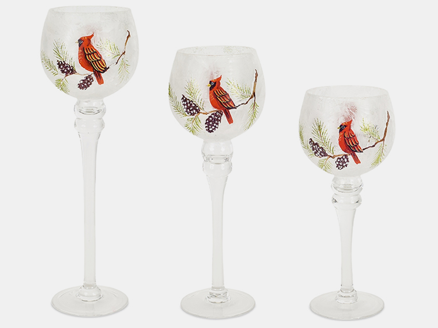 "Set of 3 Cardinal Glass Candleholders 13""/15""/17""H"