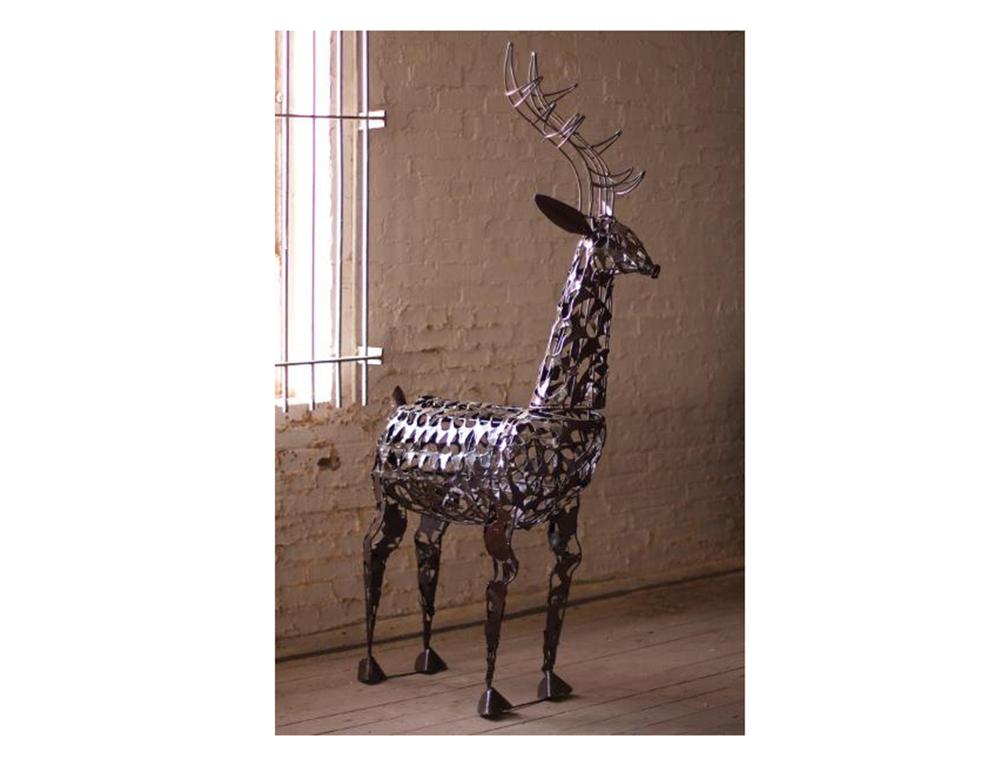 Scrap Iron Deer Sculpture