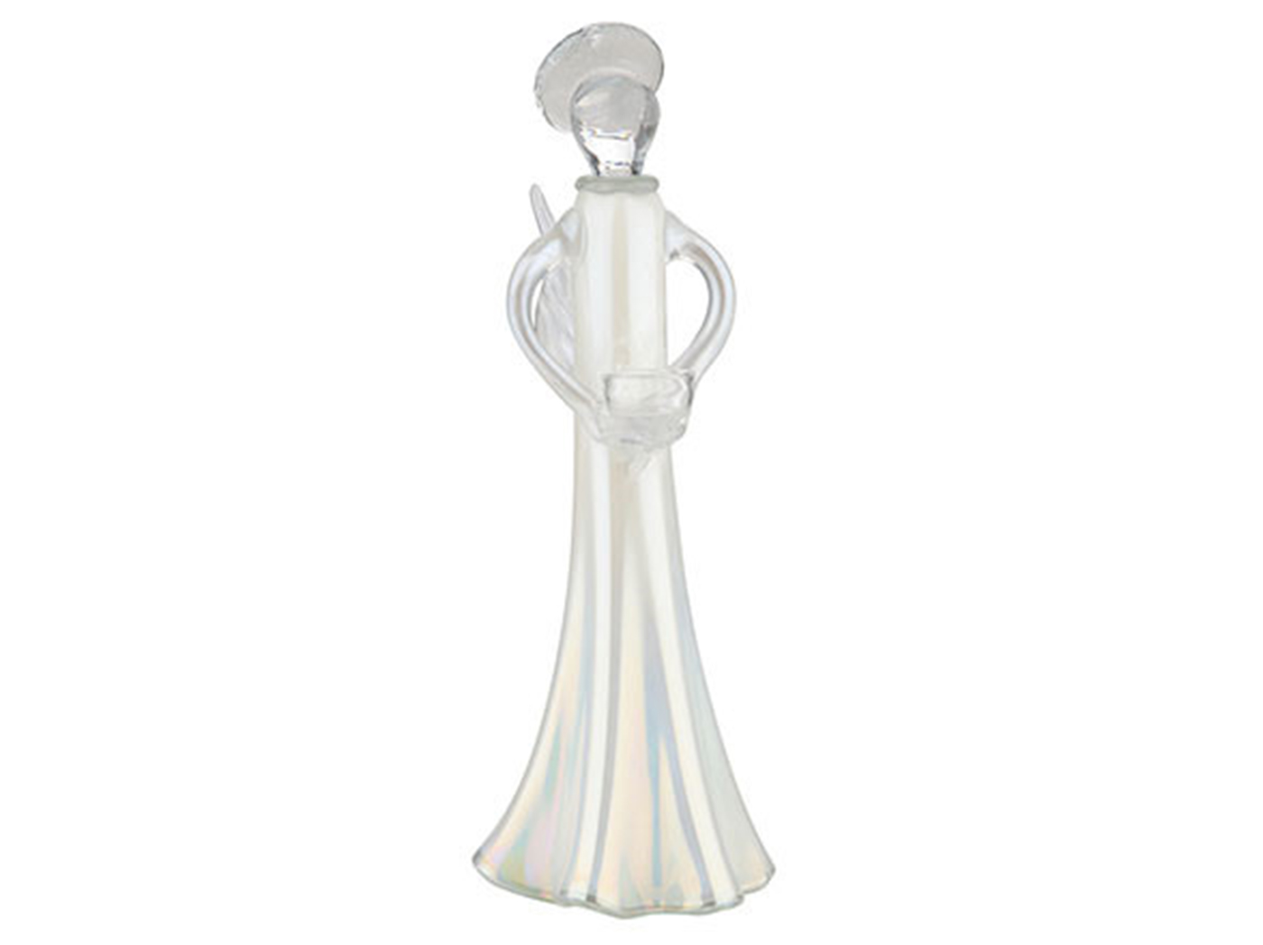 "Small White Glass Angel Candleholder 5""W x 10""H"
