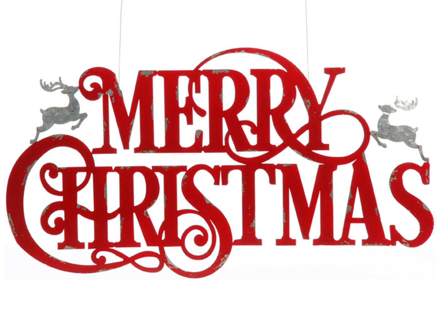 "Red and Grey Metal Merry Christmas Wall Sign 36""W x 20""H"
