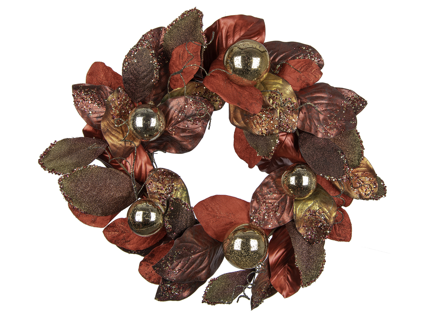 Red/Gold Glittered Magnolia Wreath With Gold Ornaments 24""