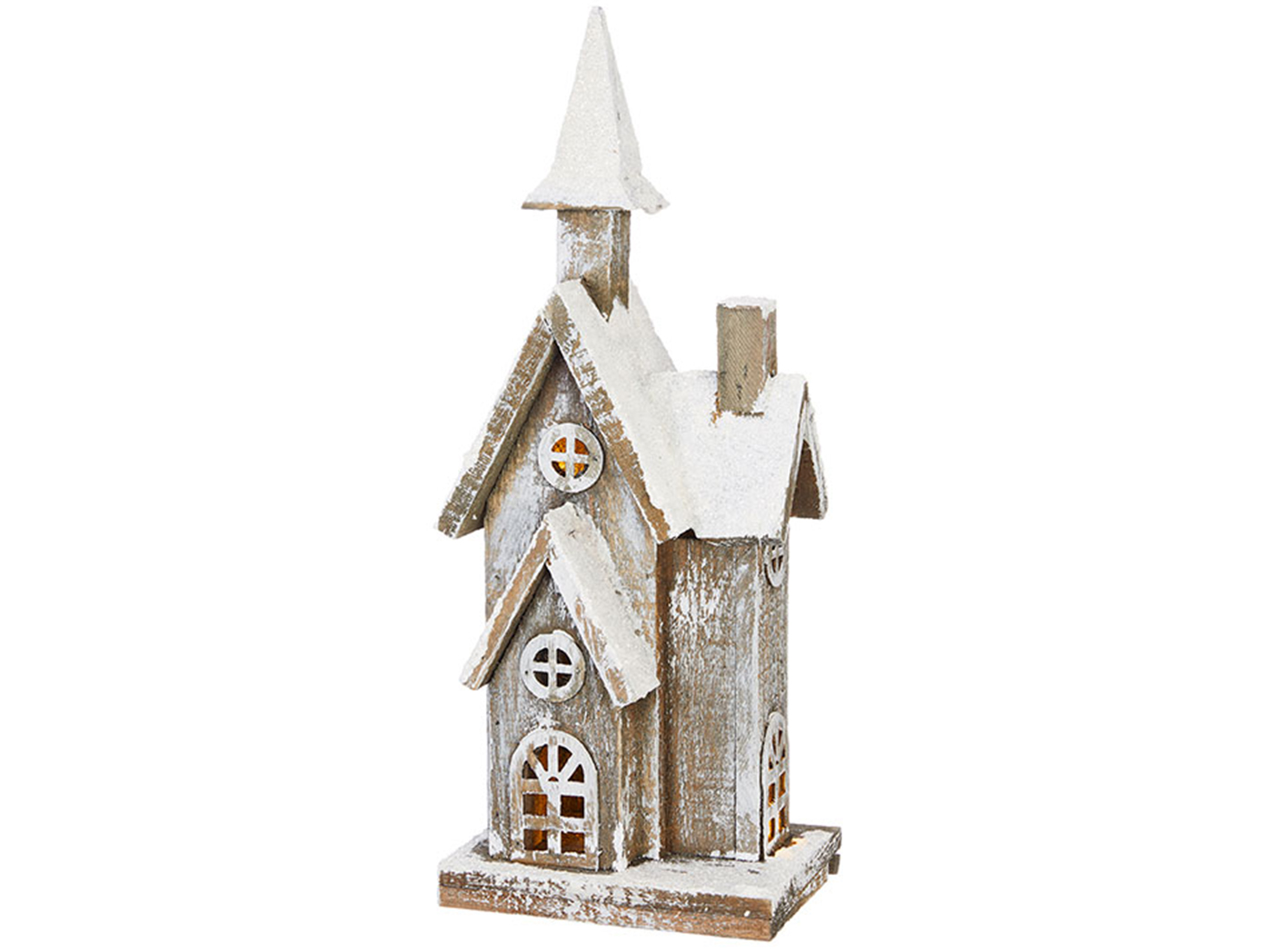 "Tall Lighted Wood Snowy House 6""W x 15""H"