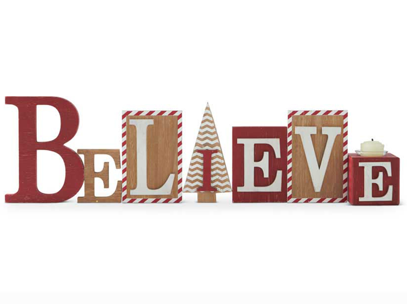 "Red and White Wooden Believe Sign With Votive 28.25""W x 7.75""H"