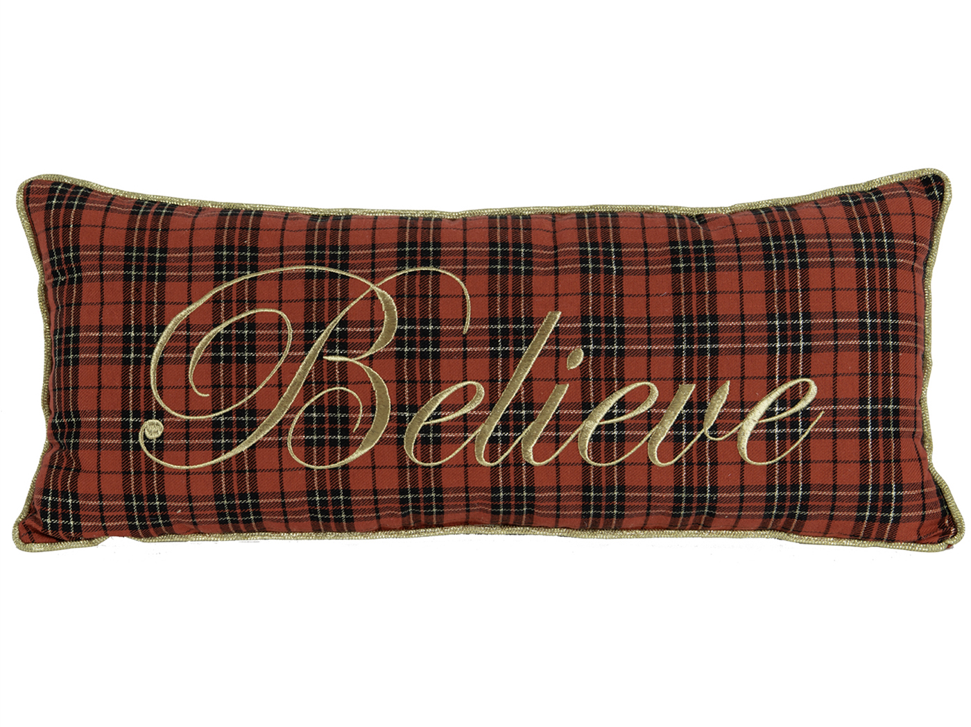 "Red and Black Plaid ""Believe"" Pillow 24""W x 10""H"