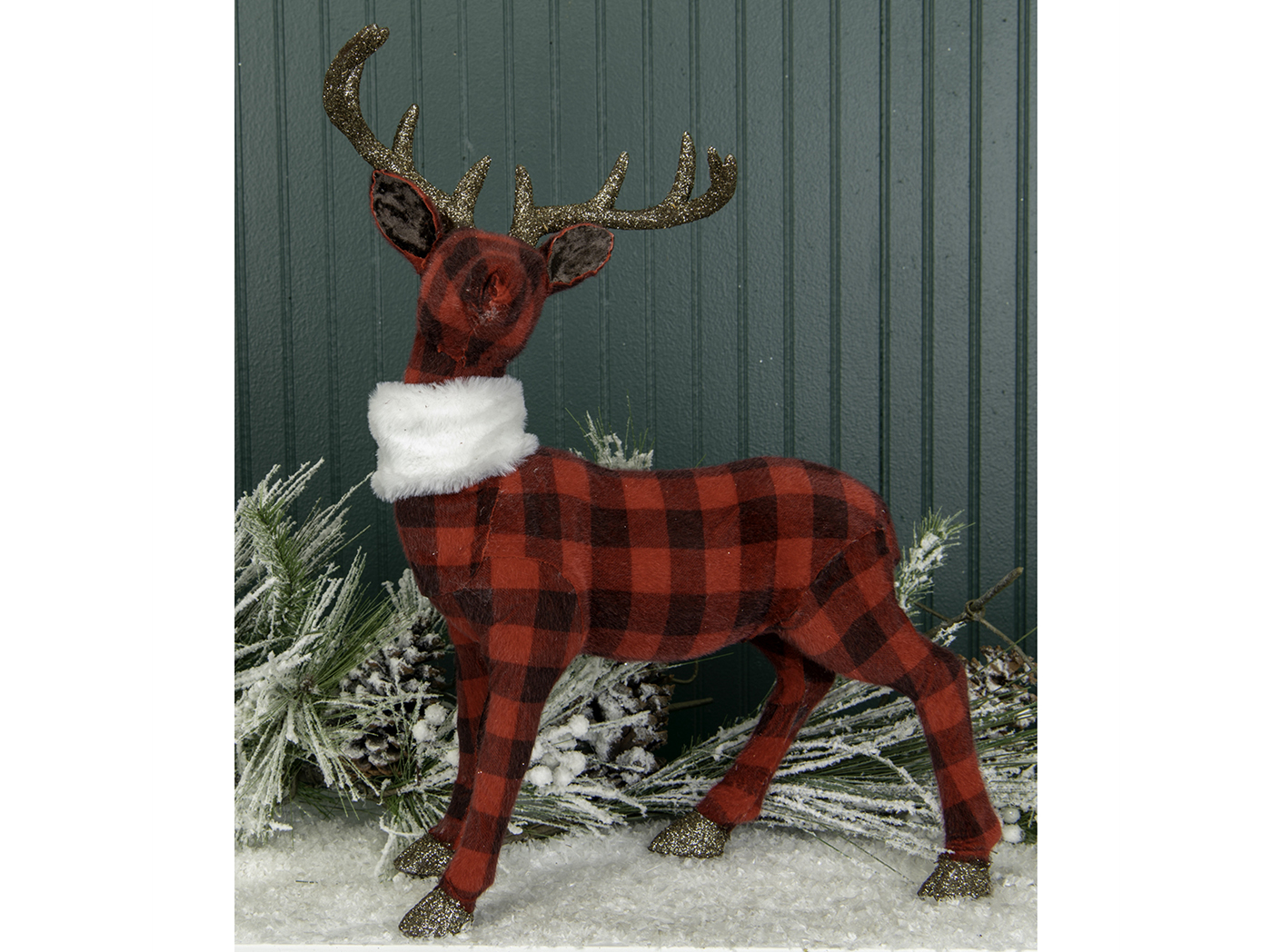 "Red and Black Plaid Standing Deer 13.75""W x 21.25""H"