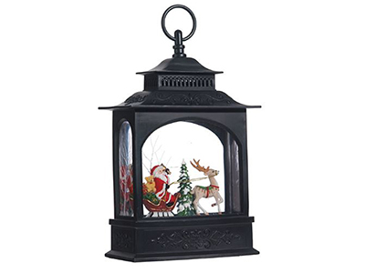 "Santa with Sleigh Lighted Water Lantern 11""H"