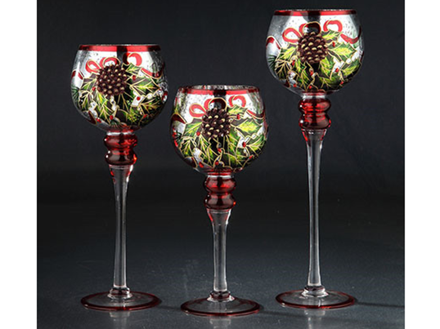 "Set of 3 Glass Holly and Bows Hurricane 12""/14""/16""H"