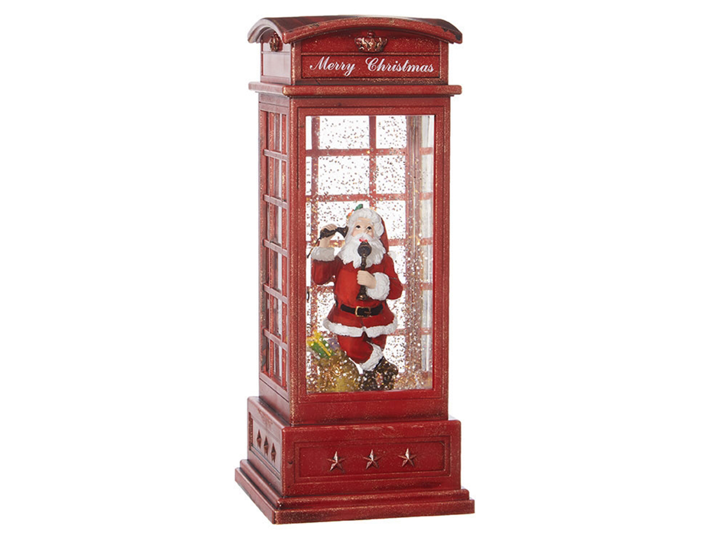 "Santa in Red Lighted Water Booth 10""H"