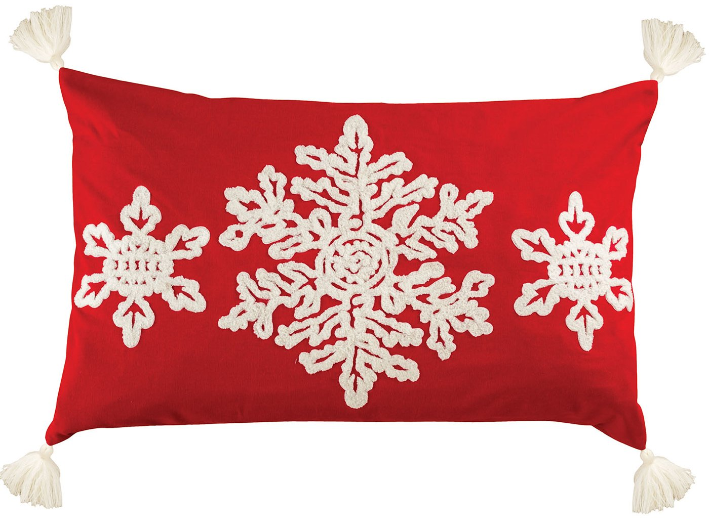 "Red and White Snowflake Down Pillow 26""W x 16""H"