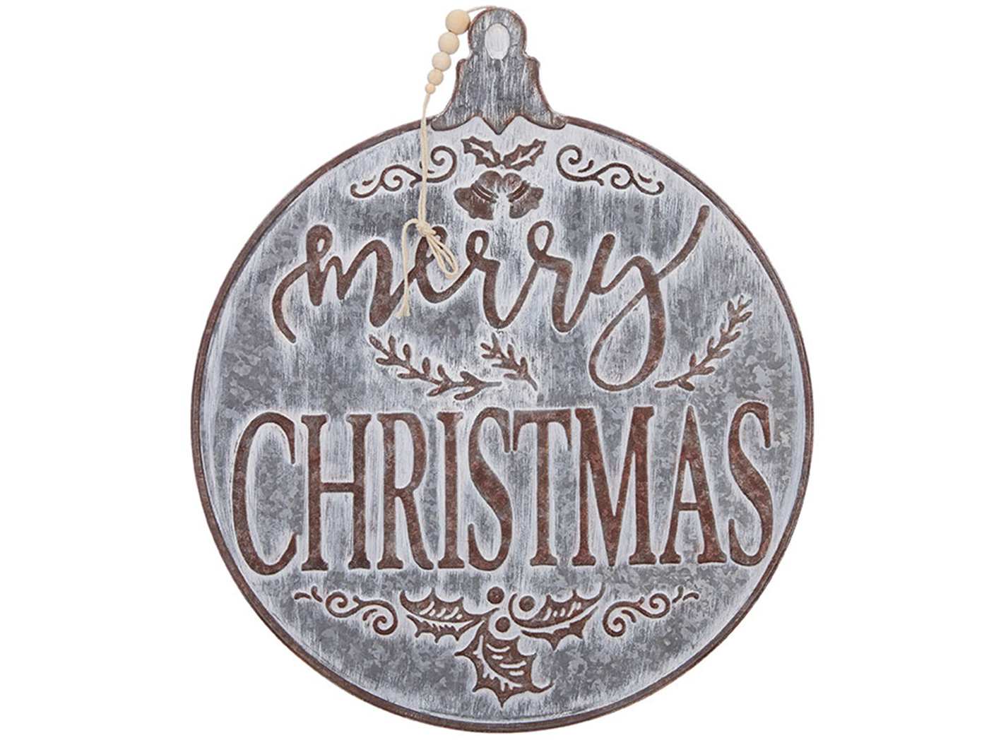 Galvanized Iron Merry Christmas Ornament Wall Decor 19""