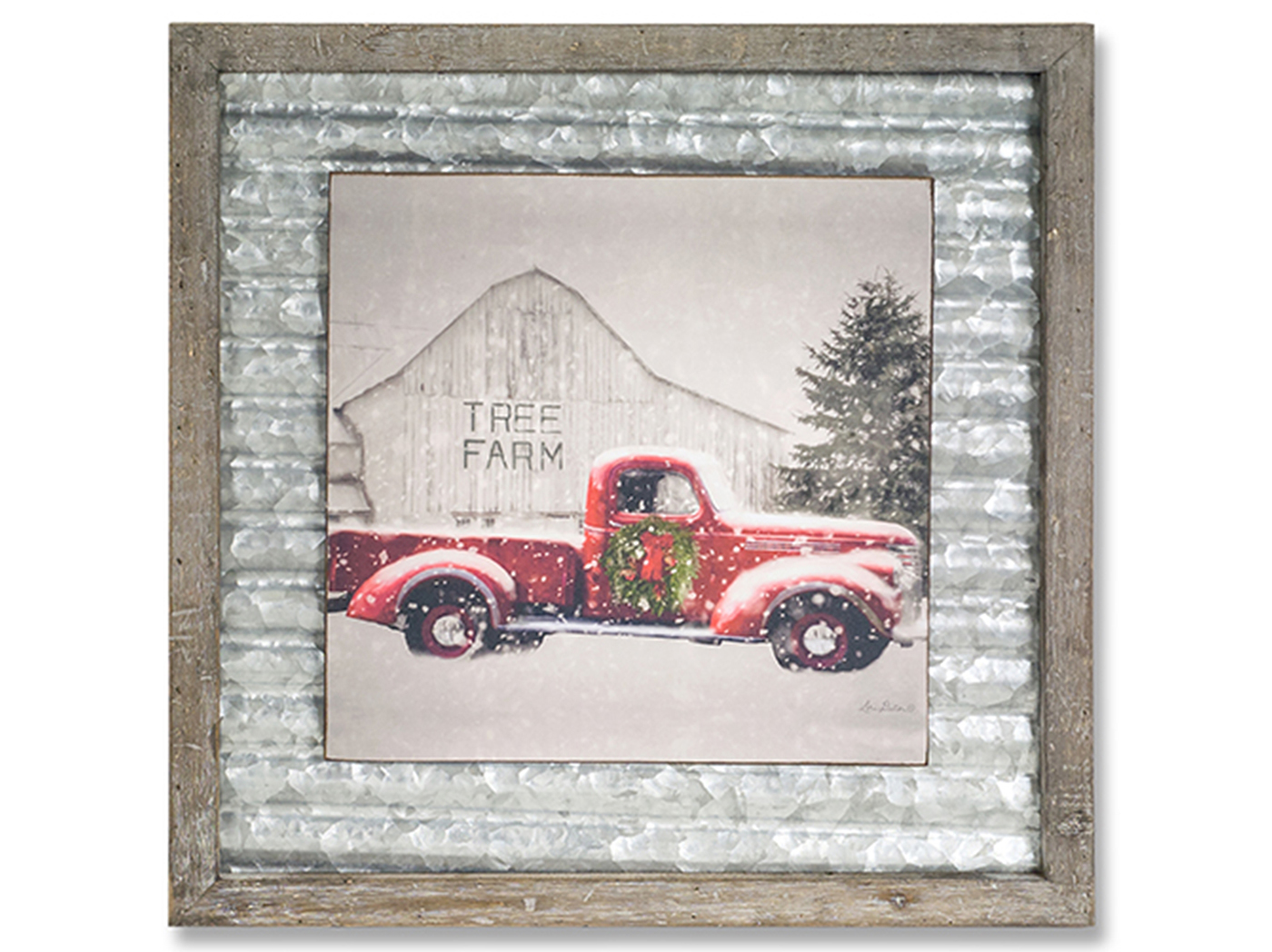 Metal and Wood Tree Farm Plaque 18""