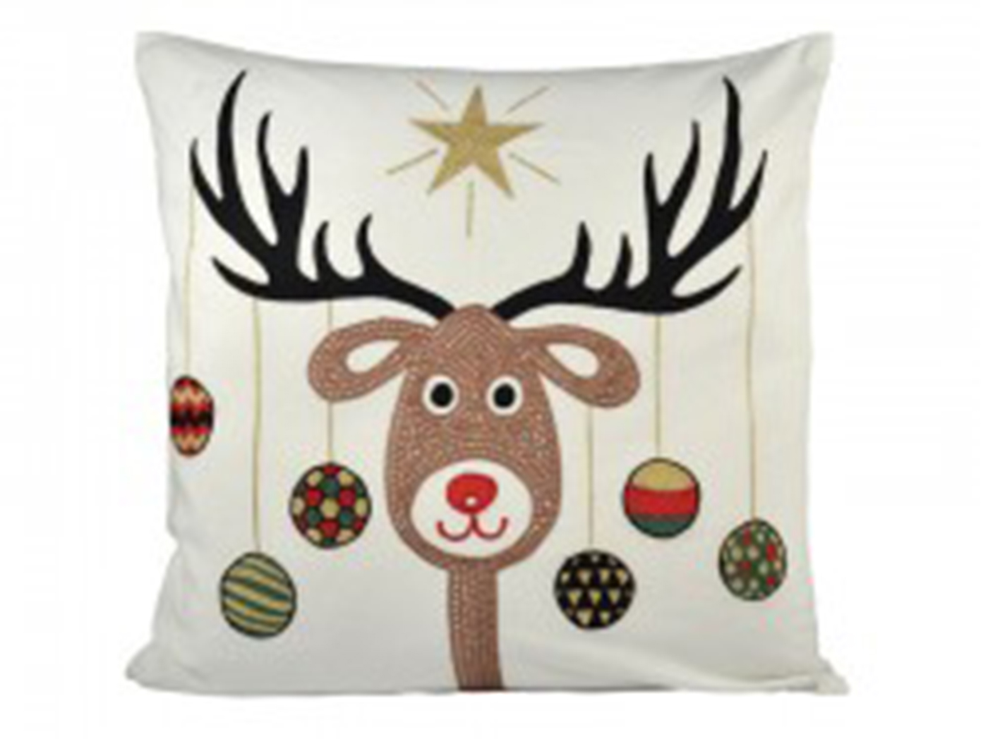 Reindeer and Ornaments Down Pillow 20""