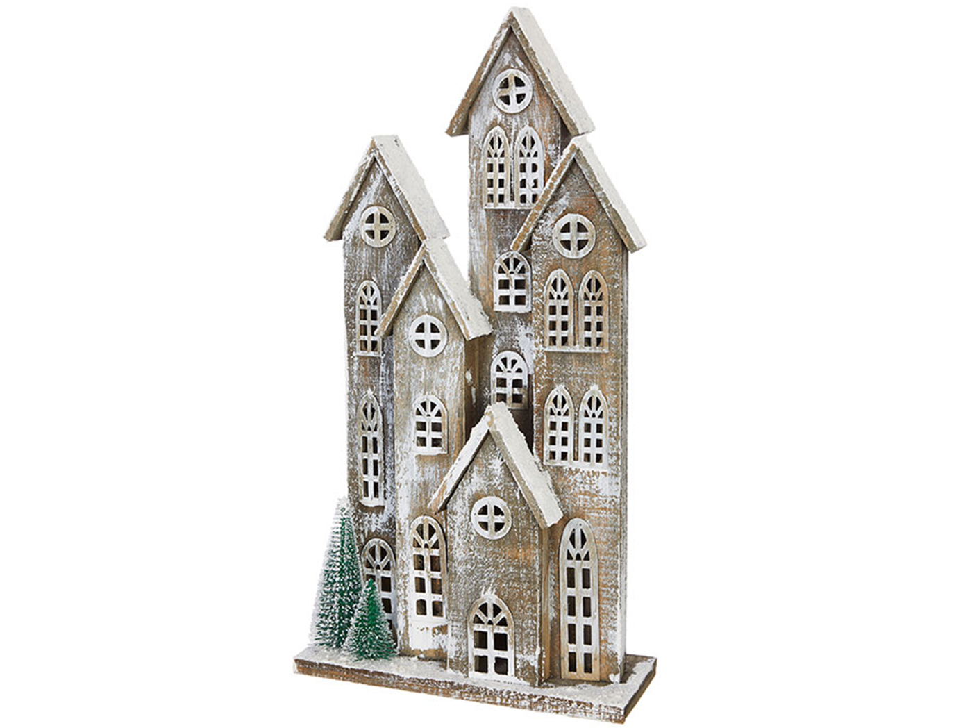 "Tall Wood Snowy Houses 14""W x 27""H"