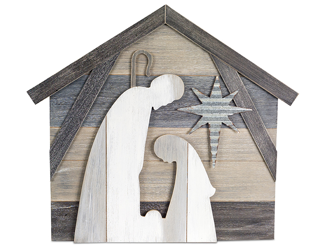 "Holy Family in Manger Wood Plaque 27""W x 24""H"