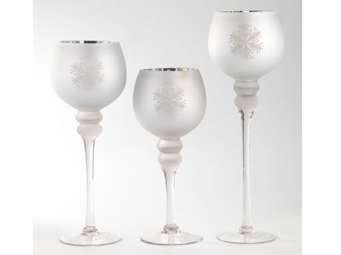 "Set of 3 Silver Glass Snowflake Candleholder 12""/14""/16""H"