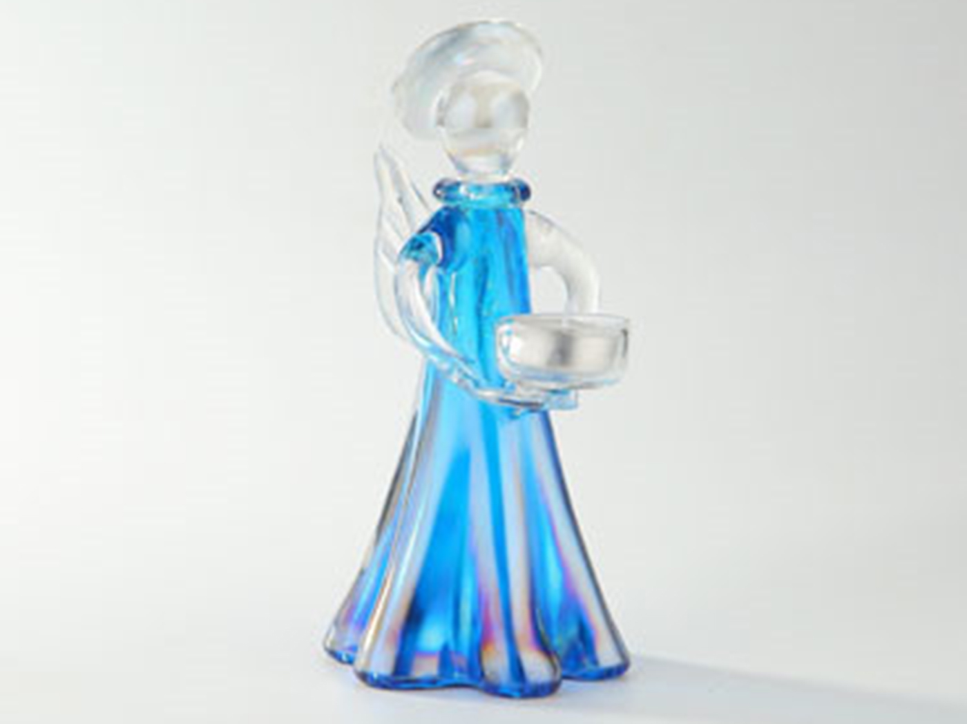 "Small Blue Glass Angel Candleholder 5""W x 14""H"