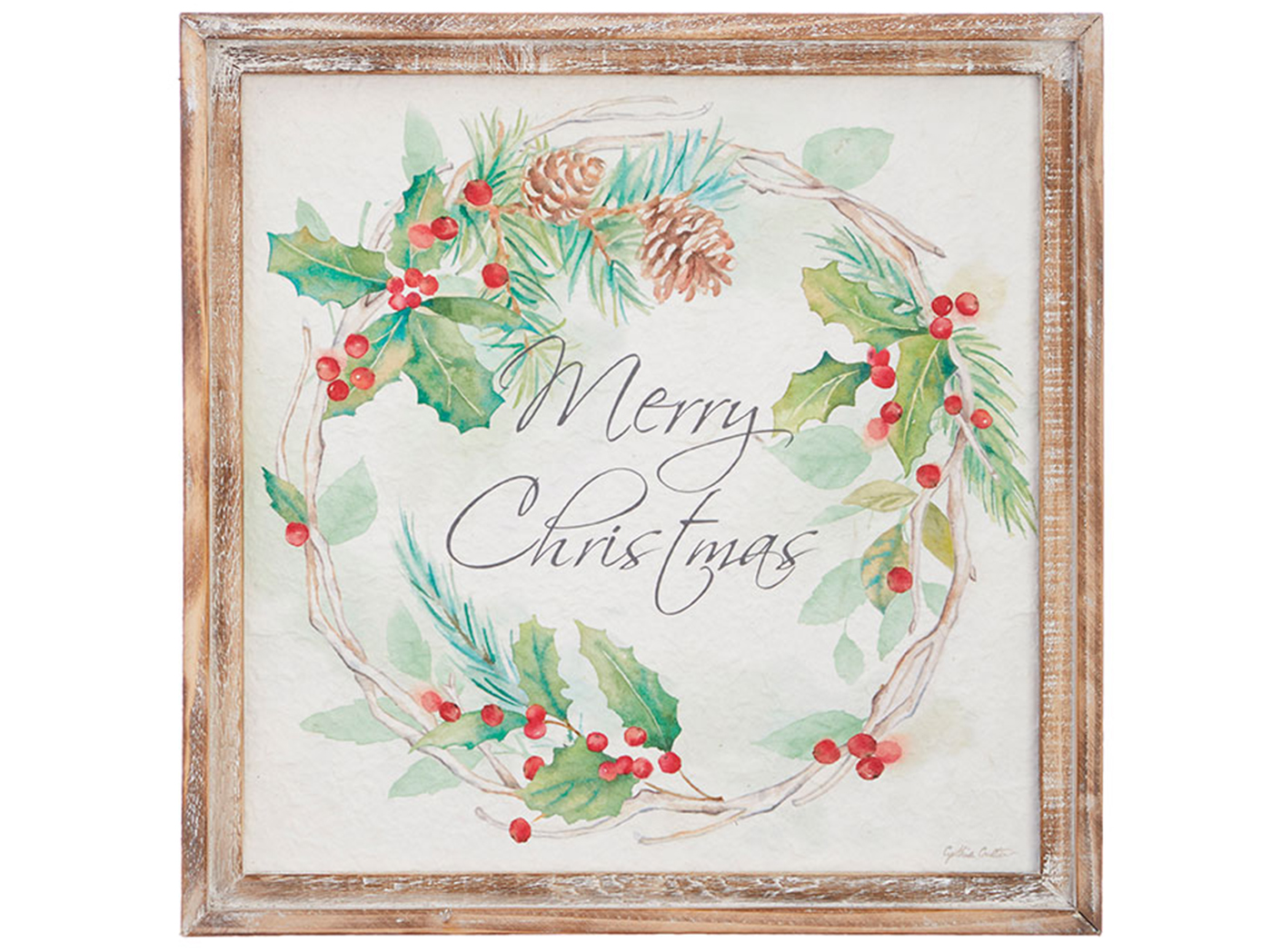 "Merry Christmas Framed Wall Art 16.5""W x 16.5""H"