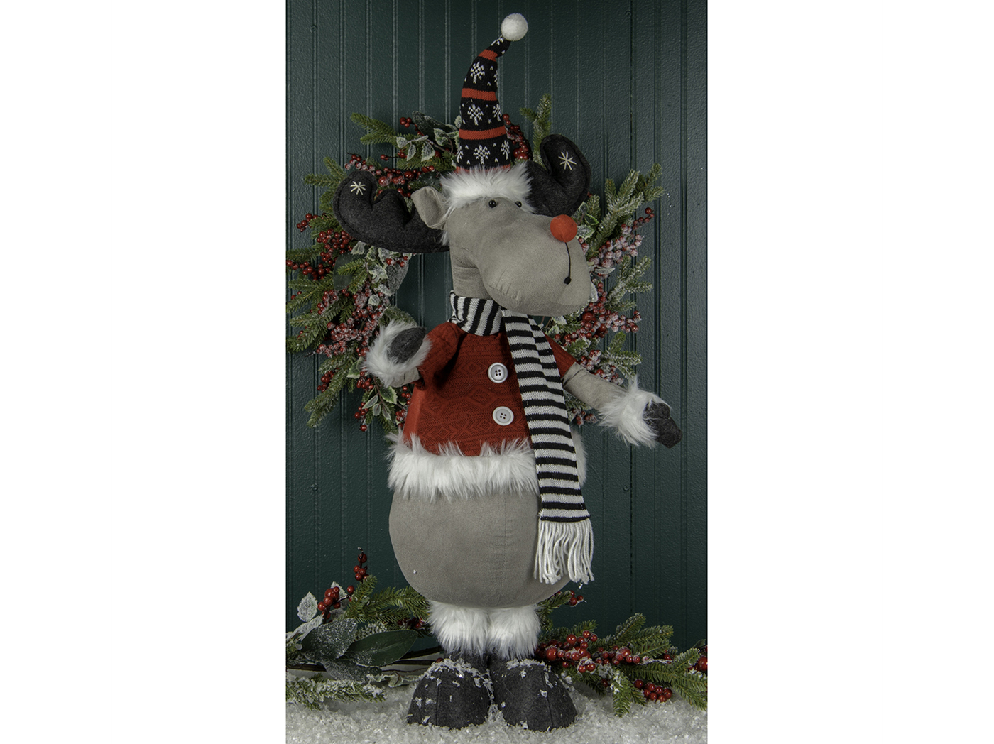 "Standing Moose With Red Nose, Hat, & Scarf 8.25""W x 30.25""H"