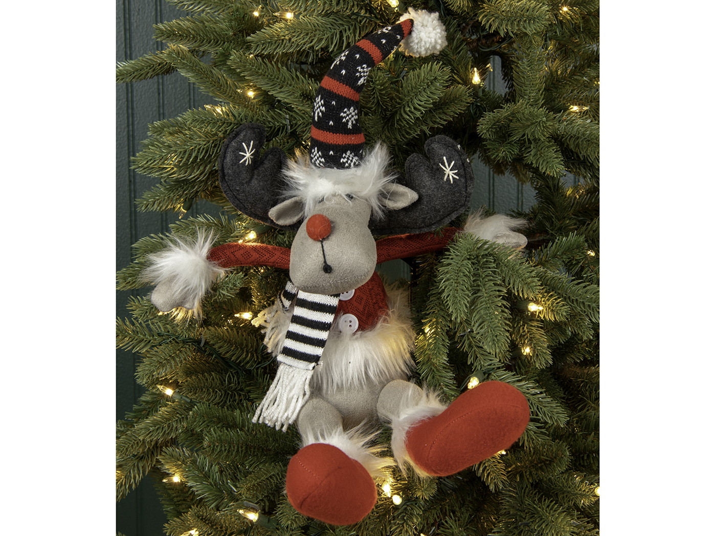 "Sitting Moose With Red Nose, Hat, & Scarf 9.5""W x 15.75""H"