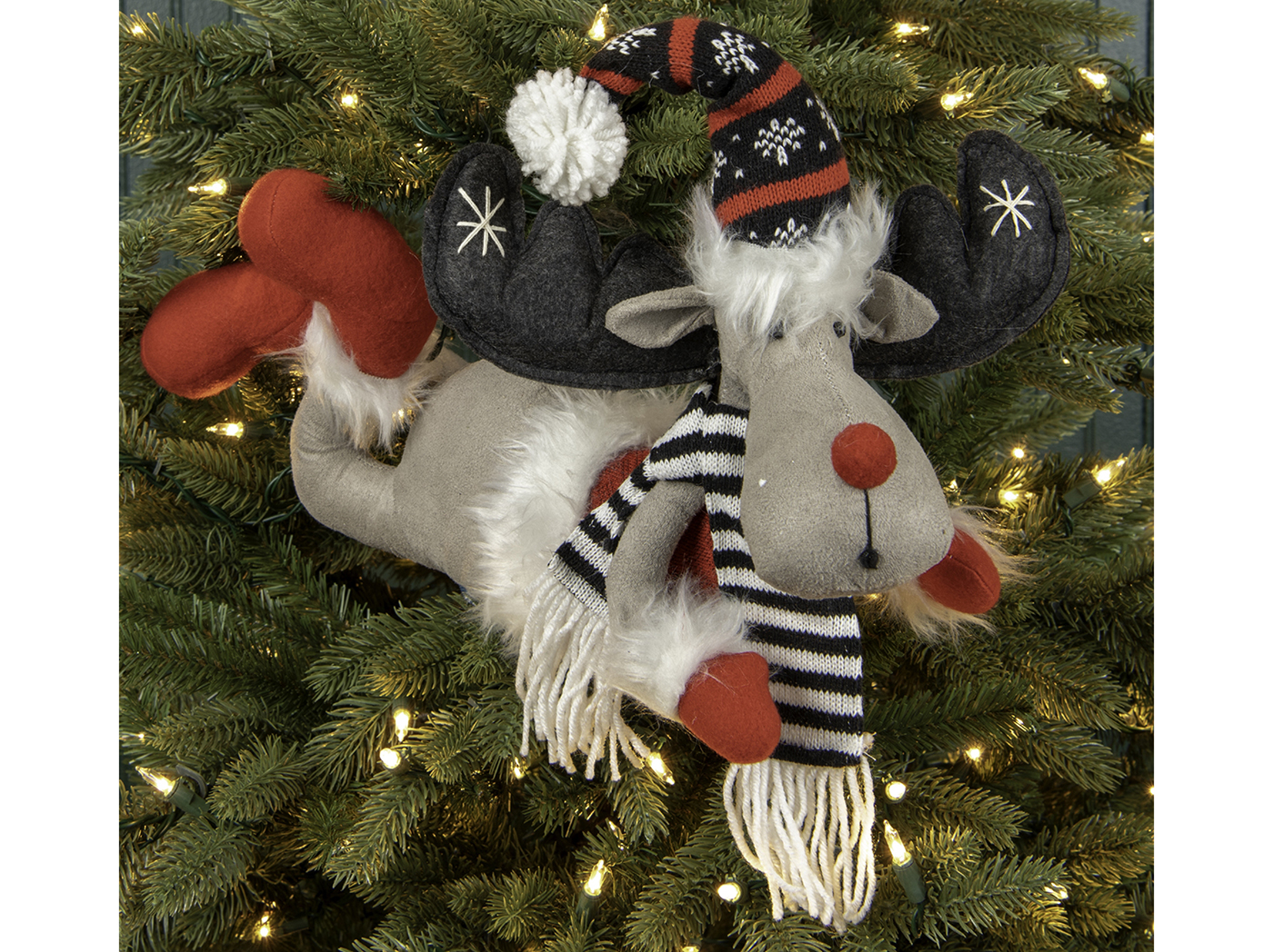 "Lying Down Moose With Red Nose, Hat, & Scarf 15""W x 15.75""H"
