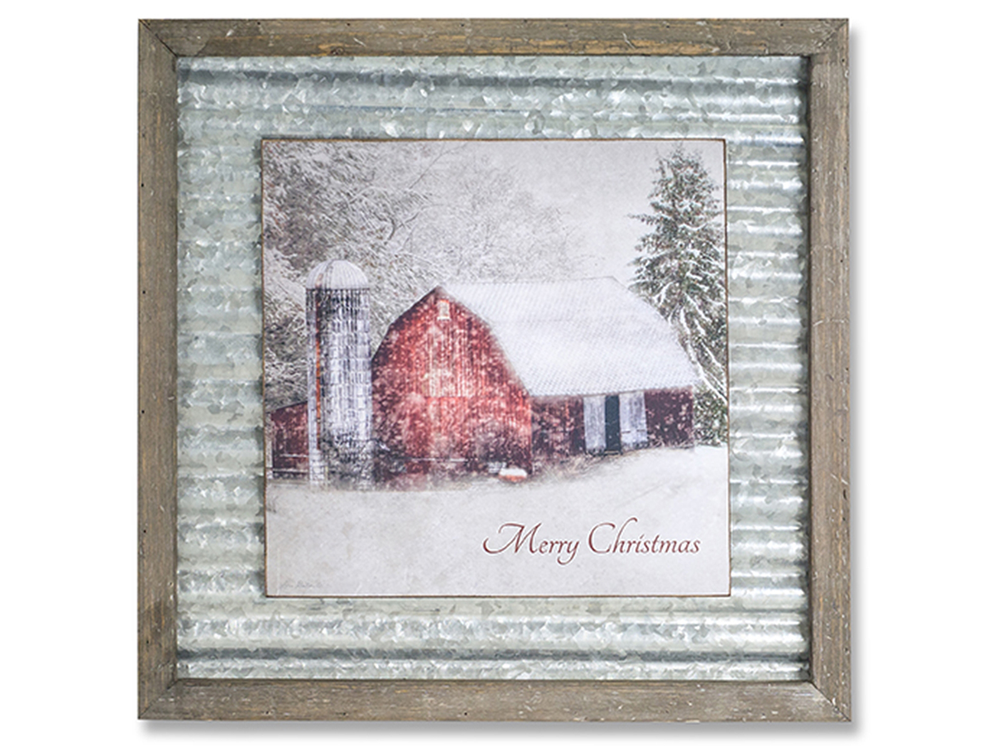 Metal and Wood Merry Christmas Plaque 18""