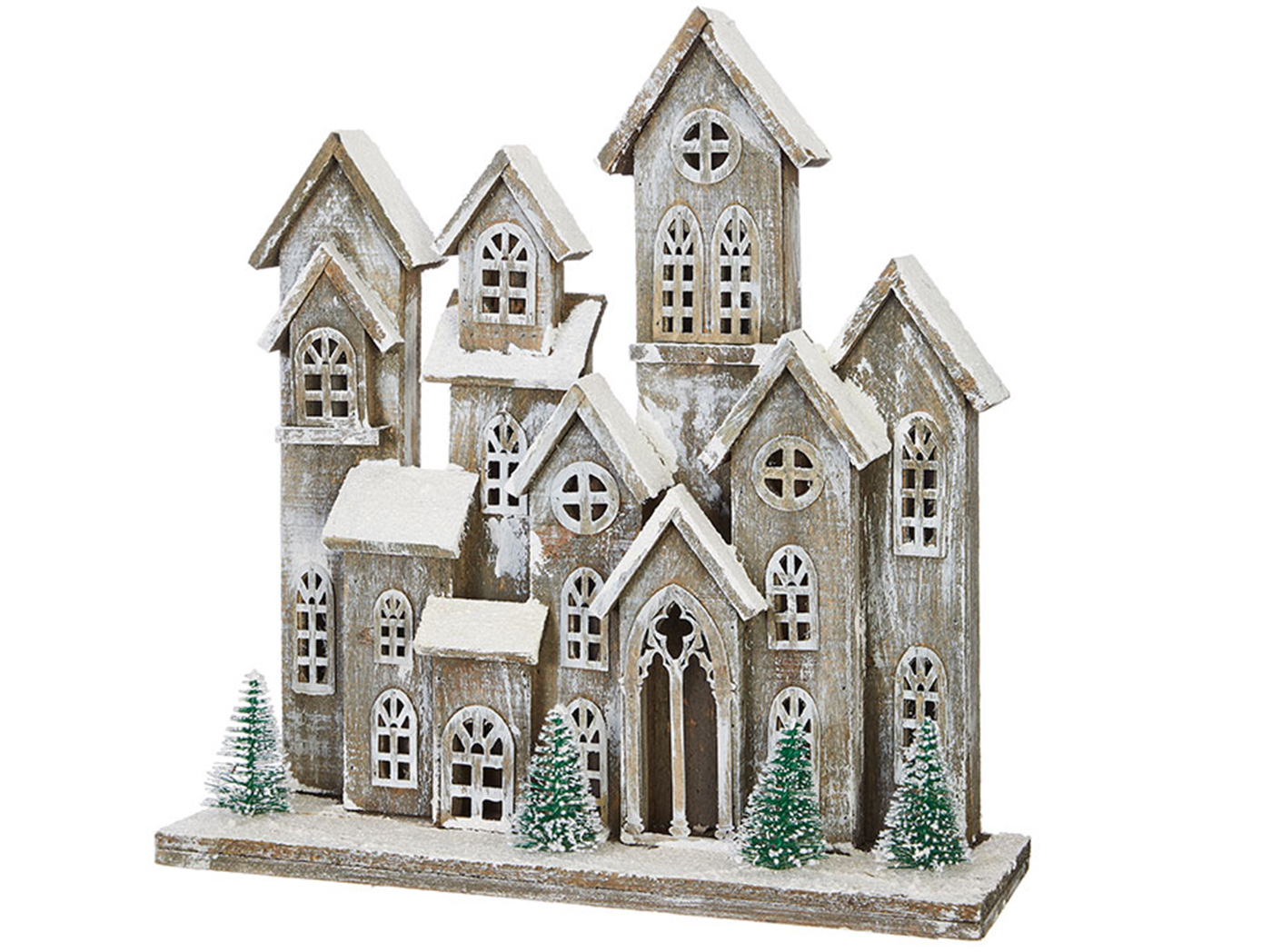 "Large Wood Snowy Houses 19""W x 20""H"