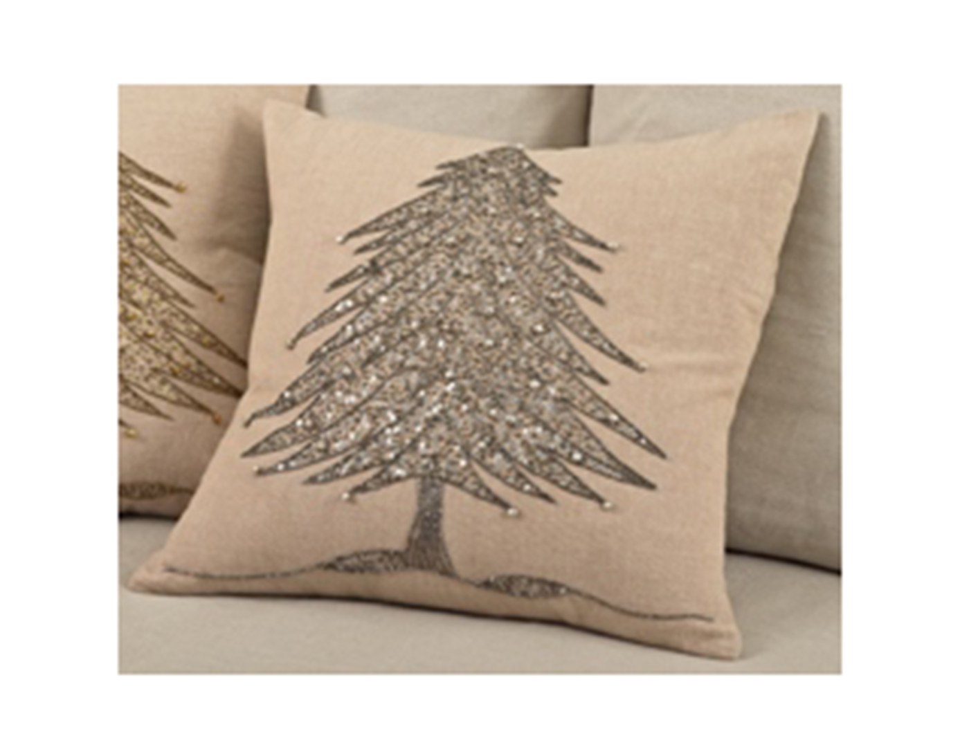 Silver Beaded Christmas Tree Pillow