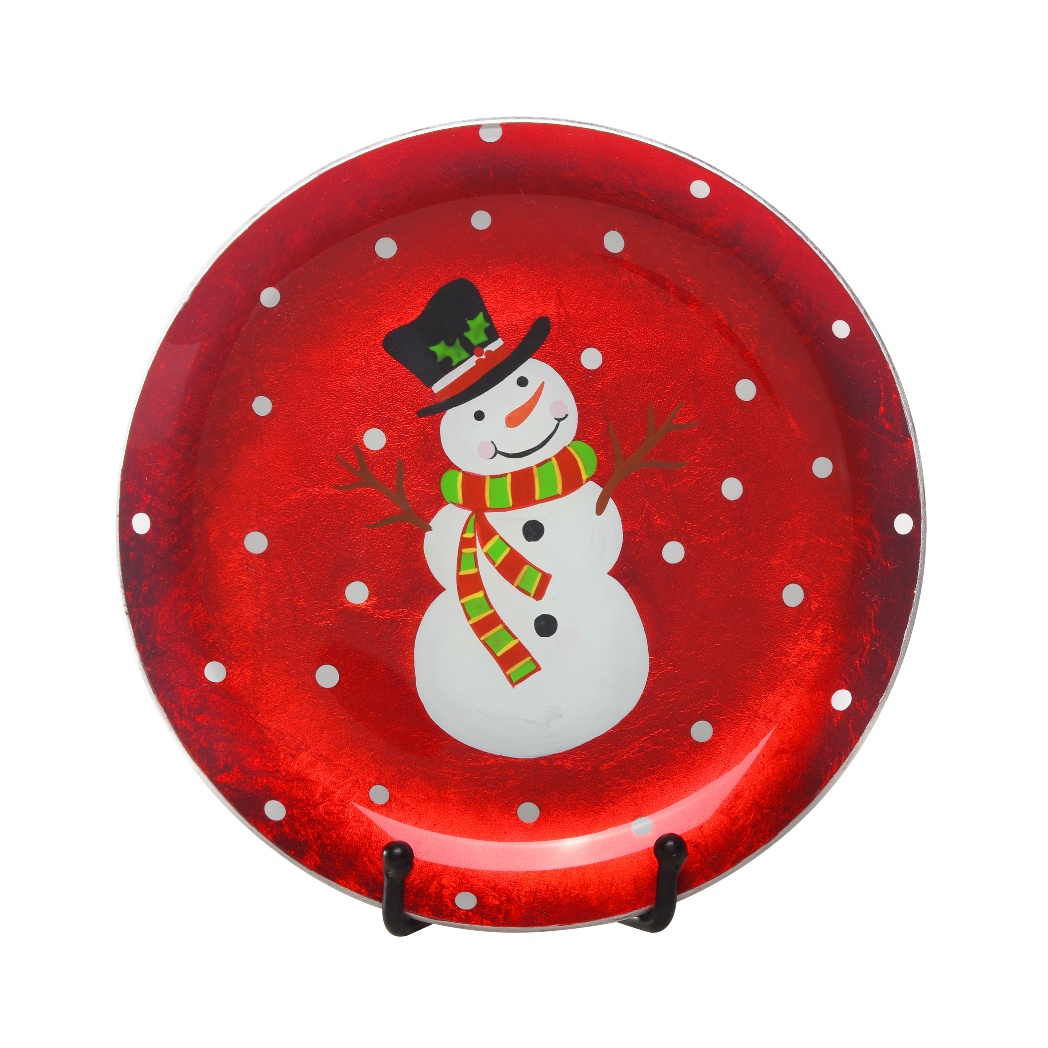 "Red Snowman Plate/Stand 8"" Dia."