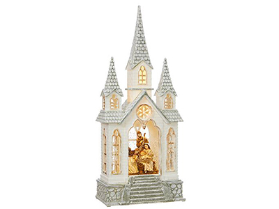 "Nativity Lighted Water Church 16.25""H"