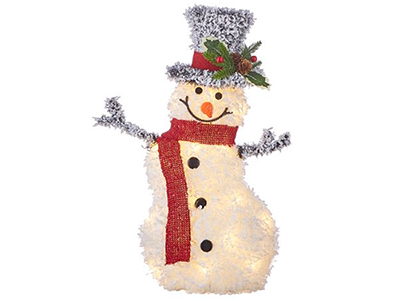 "Flocked Tinsel Lighted Snowman 20.5""H"
