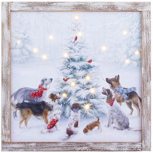 "Dogs with Tree Lighted Print 15.75""H"