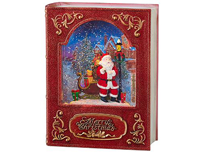 "Santa Lighted Water Book 8.5""H"
