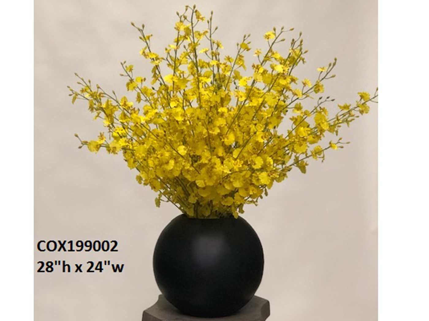 "Yellow Orchids In Black Bowl 24""W x 28""H"