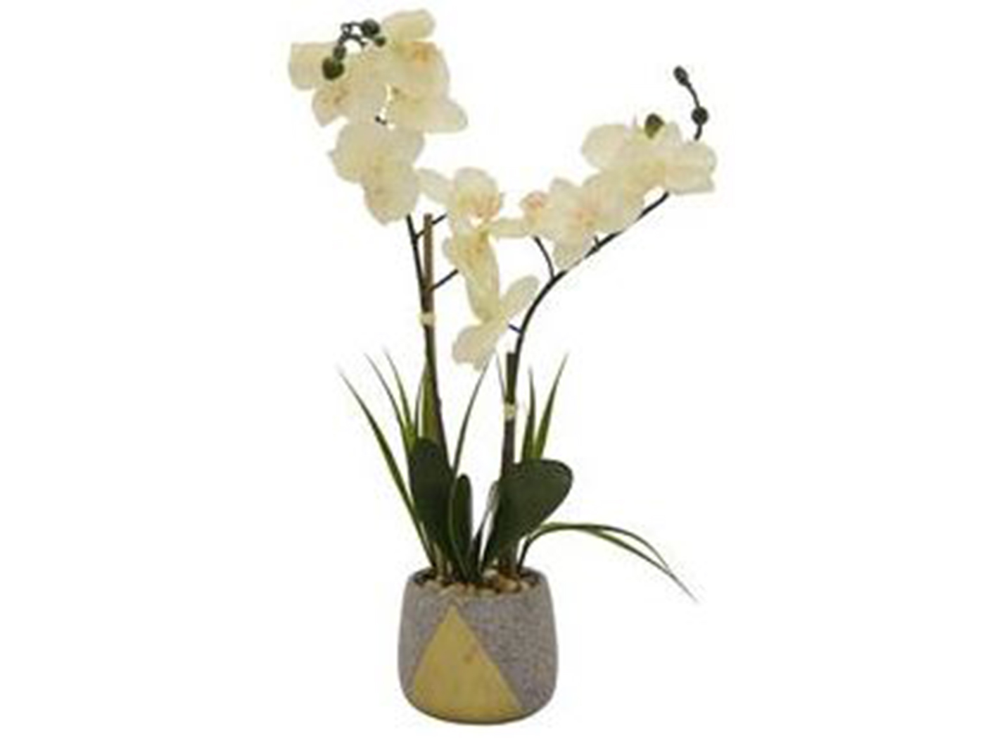 "Faux White Orchid Plant In Grey Pot 6""W x 23.5""H"